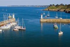 Bästa sikt av marina av La Palais ön av Belle Ile en M Arkivbilder