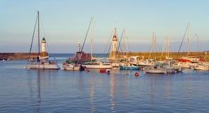 Bästa sikt av marina av La Palais ön av Belle Ile en M Arkivfoton
