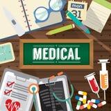 Bästa sikt av medicinminnestavlor, den hypodermatiska injektionssprutan och det pappers- medicinska begreppet för diagnos vektor illustrationer