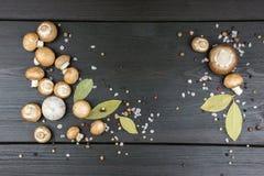 Bästa sikt av nya champinjoner med pepparkornblandningen, lagerbladar, gar Royaltyfri Fotografi