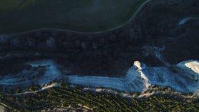 Bästa sikt av ovanliga former av vulkaniska klippor i Nya Zeeland skjutit Antennen för härlig sten vaggar och gröna träd med arkivbilder