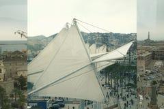 Bästa sikt av panoraman av antik port italy Arkivfoto