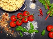 Bästa sikt av pastaingredienser Arkivfoto