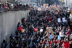 Bästa sikt av personerna som protesterar som går i de packade gatorna Royaltyfri Fotografi