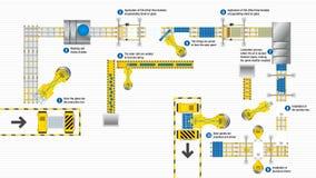 Bästa sikt av produktionslinjen av monterande solpaneler för en automatiserad fabrik på vit bakgrund förnybar energi royaltyfri illustrationer