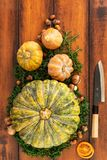 Bästa sikt av säsongsbetonade ingredienser för pumpa-, butternut- och champinjonsoppa som är klar att snida med en japansk kniv arkivfoton
