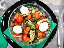 bästa sikt av sallad från tomater med mozzarellaen royaltyfri fotografi