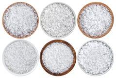 Bästa sikt av salt för hav som isoleras på vit bakgrund arkivfoto
