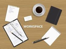 Bästa sikt av skrivbordbakgrund Workspaceillustration Royaltyfria Bilder
