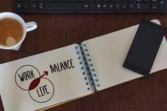 Bästa sikt av skrivbordtabellen med den kontorstillbehör och anteckningsboken med grafen Affärsarbete, livjämviktsbegrepp arkivfoto