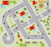 Bästa sikt av staden av gator, vägar, hus, vektor Arkivfoto