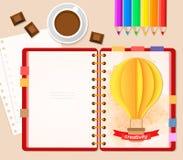 Bästa sikt av stationära blyertspennor, den röda räkningsanteckningsboken och kaffekoppen med choklad, pappers- luftballong för h Fotografering för Bildbyråer