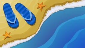 Bästa sikt av stranden, badskor och havet Vektor Illustrationer