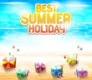 Bästa sikt av strandsemesterorten med färgrika strandparaplyer royaltyfri illustrationer