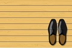 Bästa sikt av svarta skor för läderman` s på träbakgrund, vektorillustration Arkivbilder