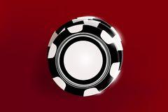 Bästa sikt av svartvita chiper för kasino på röd bakgrund Online-kasinochiplek på den röda tabellen som spelar vektorn 3d vektor illustrationer