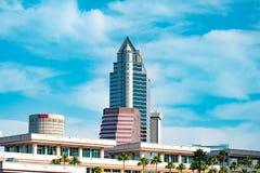 Bästa sikt av Tampa Convention Center och i stadens centrum byggnader fotografering för bildbyråer