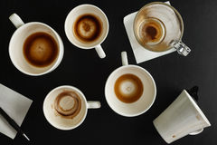 Bästa sikt av tomma kaffekoppar Fotografering för Bildbyråer
