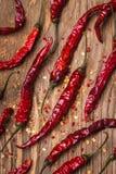 Bästa sikt av torkad röd peppar Arkivbild