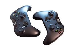 Bästa sikt av två svarta Sony PlayStation kontrollanter för att spela videogames Isolerat på vit royaltyfri bild