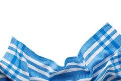 Bästa sikt, blå servett på vit bakgrund royaltyfri foto