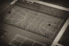 Bästa sikt för basketdomstol Arkivbild