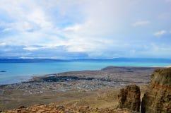 Bästa sikt för El Calafate Moln för landskap för aftonsolnedgångnatur magiskt drömlikt på himlen i Patagonia Royaltyfri Bild