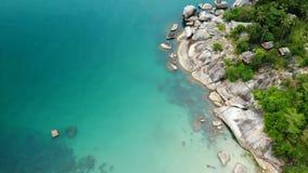 Bästa sikt för flyg- surr av den mycket lilla kusten för vitt paradis för sand tropiskt exotiskt i den Koh Prangan ön, Thailand S arkivfilmer