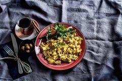 Bästa sikt för frukosttabell Livsstil som lagar mat Fotografering för Bildbyråer