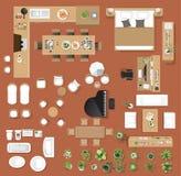 Bästa sikt för inre symboler, träd, möblemang, säng, soffa, fåtölj Arkivbild