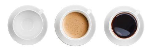 Bästa sikt för kaffekoppar inklusive den isolerade tomma en uppsättningen arkivfoton