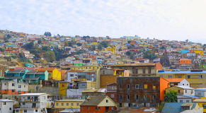 Bästa sikt för kulle av valparaiso chilehorisont Fotografering för Bildbyråer