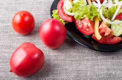 Bästa sikt för närbild på nya tomater och en bunke av vegetarisk sal arkivbild