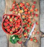 Bästa sikt för nya jordgubbar Royaltyfria Bilder