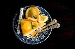 Bästa sikt för orange kaka Royaltyfria Bilder