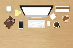 Bästa sikt för realistisk arbetsskrivbordorganisation med den texturerade tabellen Royaltyfri Bild