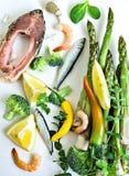 Bästa sikt för sunda ingredienser för äta rå Arkivbild
