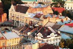Bästa sikt från Lviv stadstorn Arkivbilder