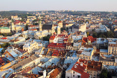 Bästa sikt från Lviv stadstorn Royaltyfri Bild