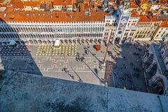 Bästa sikt på den San Marco fyrkanten i Venedig Royaltyfri Bild
