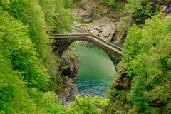 Bästa sikt på det Ponte Romano Intragna Bridge nederlaget i vallen royaltyfri bild