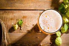 Bästa sikt på halv liter av öl Arkivbilder