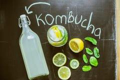 Bästa sikt på hemlagade Kombucha med frukter fotografering för bildbyråer