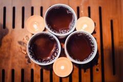Bästa sikt på koppen av varmt vinterte Royaltyfria Foton