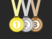 Bästa tre medaljer royaltyfri illustrationer