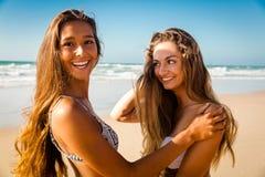 Bästa vän på stranden royaltyfri foto