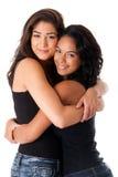 bästa vän som kramar kvinnor Arkivfoton