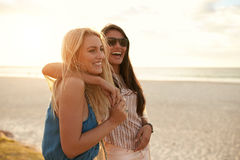 Bästa vän som tycker om sommarsemester på stranden royaltyfri fotografi