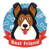 Bästa vänsymbol Hundhusdjurframsida med det röda bandet Royaltyfria Bilder