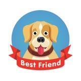 Bästa vänsymbol Hundhusdjurframsida med det röda bandet Royaltyfria Foton